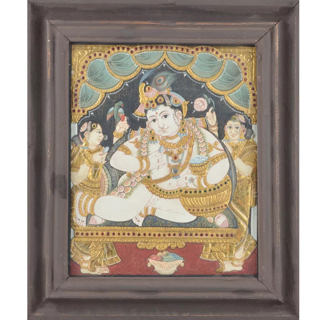 "Mangala Art Pot Butter Krishna Indian Traditional Tamil Nadu Culture Tanjore Painting - 32x26cms (12.5""x10.5"")"