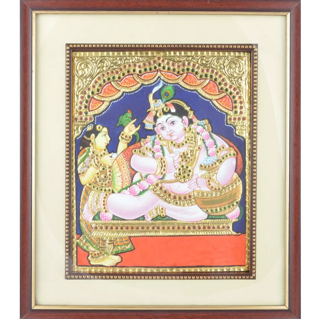 "Mangala Art Pot Butter Krishna Indian Traditional Tamil Nadu Culture Tanjore Painting - 43x35cms (17""x14"")"