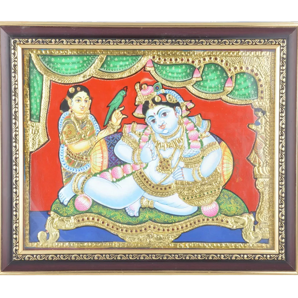 "Mangala Art Pot Krishna Indian Traditional Tamil Nadu Culture Tanjore Painting - 38x30cms (15""x12"")"