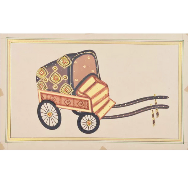 Rickshaw Paper Gold Paint Tanjore Painting