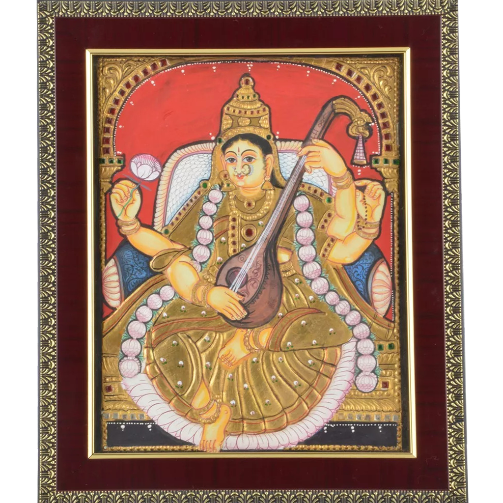 Mangala Art Saraswathi Indian Traditional Tamil Nadu Culture Tanjore Antique Finish Painting - 20x25cms (8x10)