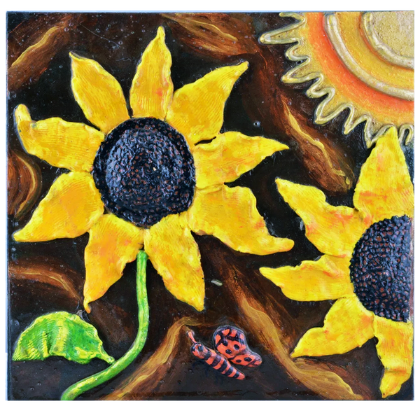 "Mangala Art Sunflower Mural Artwork Indian Traditional Tamil Nadu Culture Tanjore Painting - 33x28cms (12""x12"")"