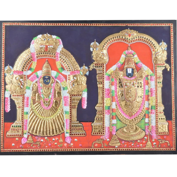 "Mangala Art Thayar Balaji Indian Traditional Tamil Nadu Culture Tanjore Without Frame Painting - 38x30cms (15""x12"")"