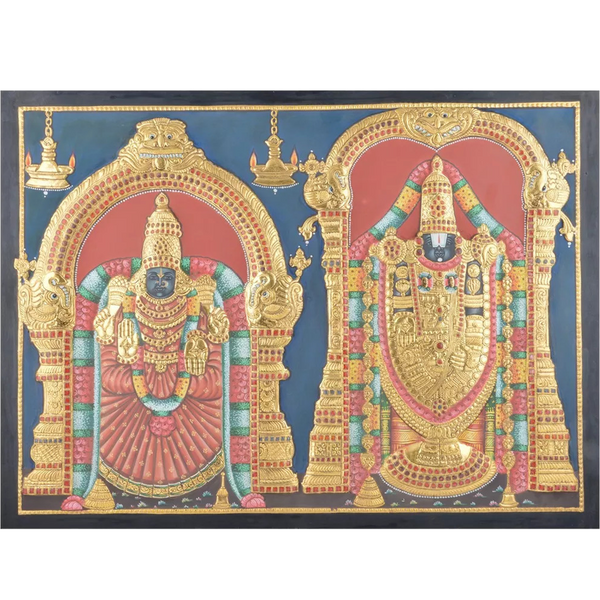 "Mangala Art Thayar Balaji Indian Traditional Tamil Nadu Culture Tanjore Without Frame Painting - 61x46cms (24""x18"")"