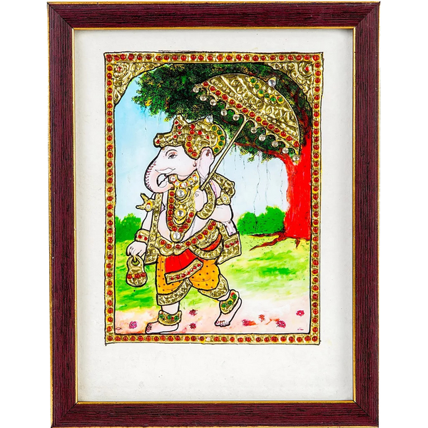 "Mangala Art Umberlla ganesha Indian Traditional Tamil Nadu Culture Tanjore Acrylic Base Painting - 20x15cms (8""x6"")"