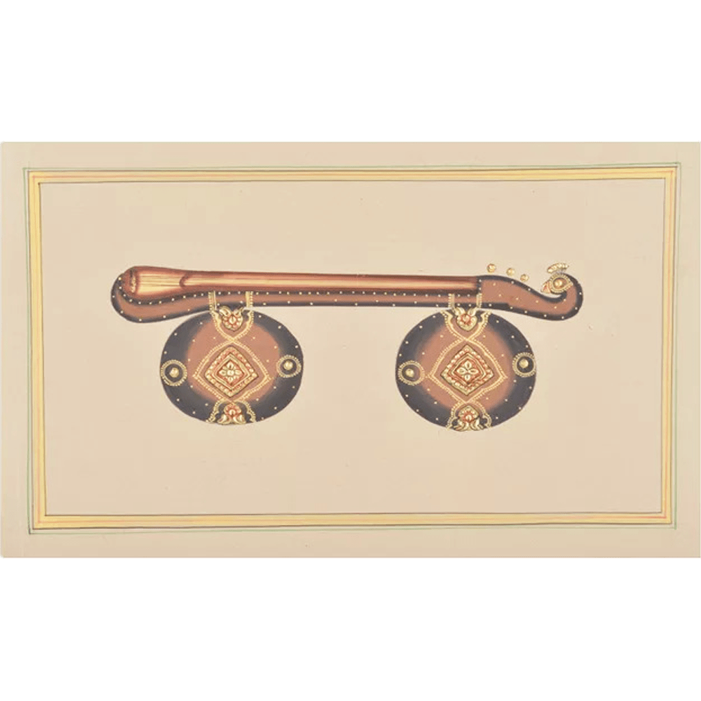 Veenai Paper Gold Paint Tanjore Artwork  Wall Decor