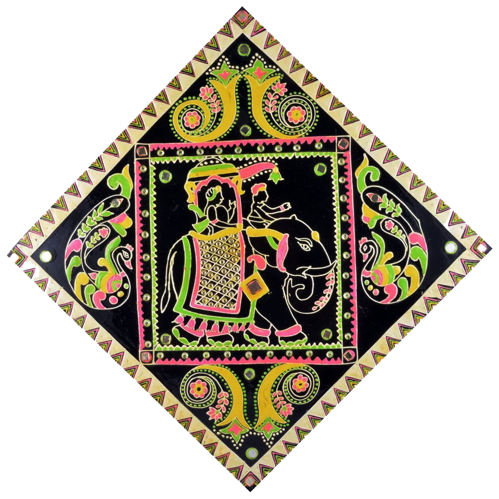 "Mangala Art Warli Gurjari Art Work Wall Decor 45x45cms (18""x18"")"