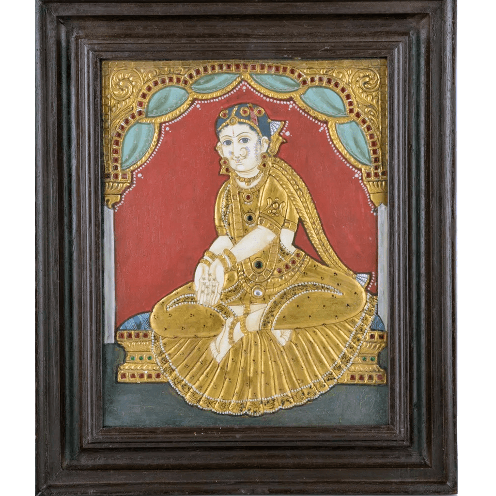 "Mangala Art Welcome Girl Indian Traditional Tamil Nadu Culture Tanjore Painting - 32x26cms (12.5""x10.5"")"