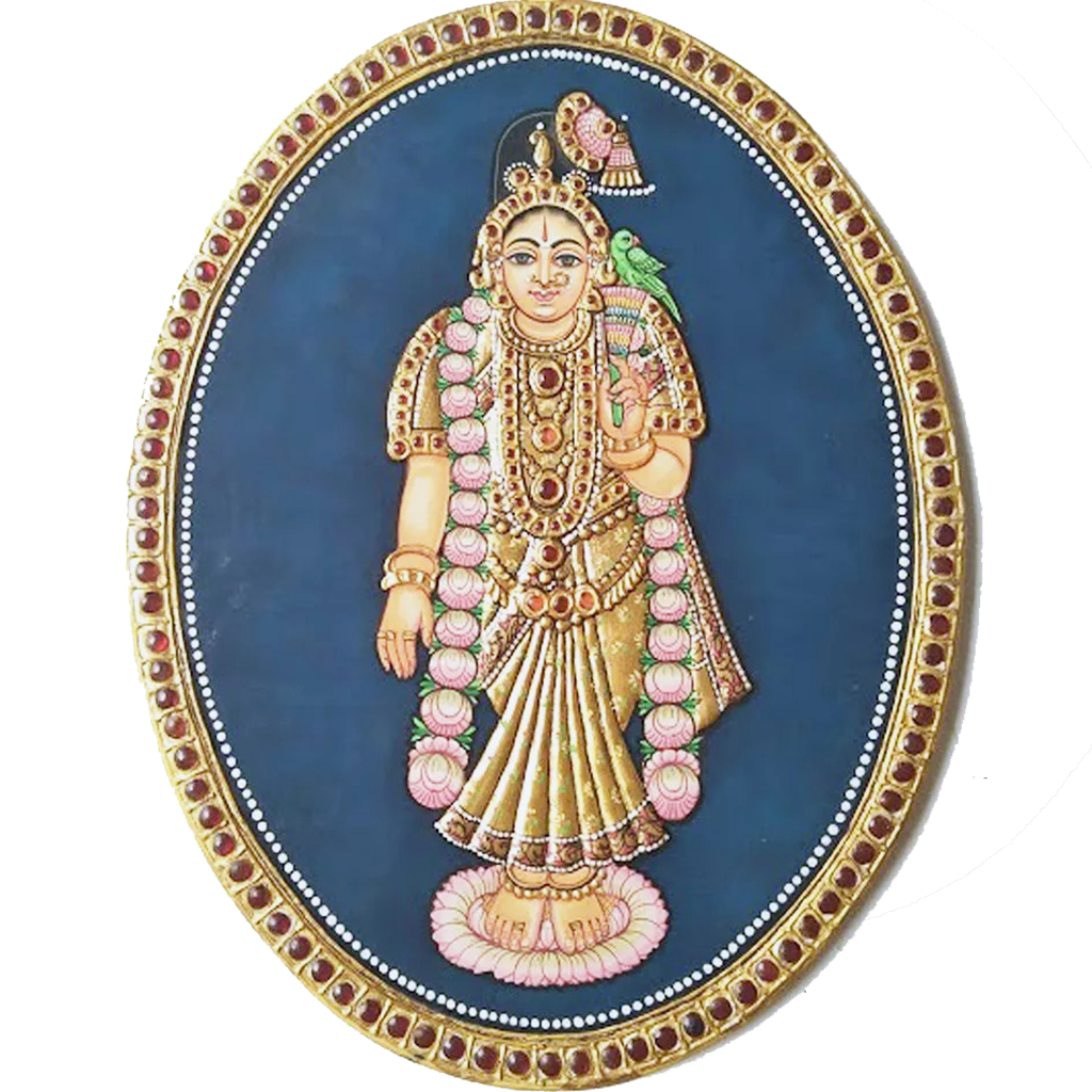 "Oval Andal Antique Finish 24 Carat Gold Foil Tanjore Painting - 8""x10"""