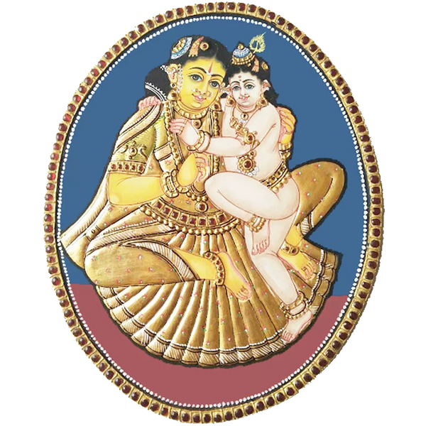 Oval Krishnar Yasodha Antique Finish Tanjore Painting
