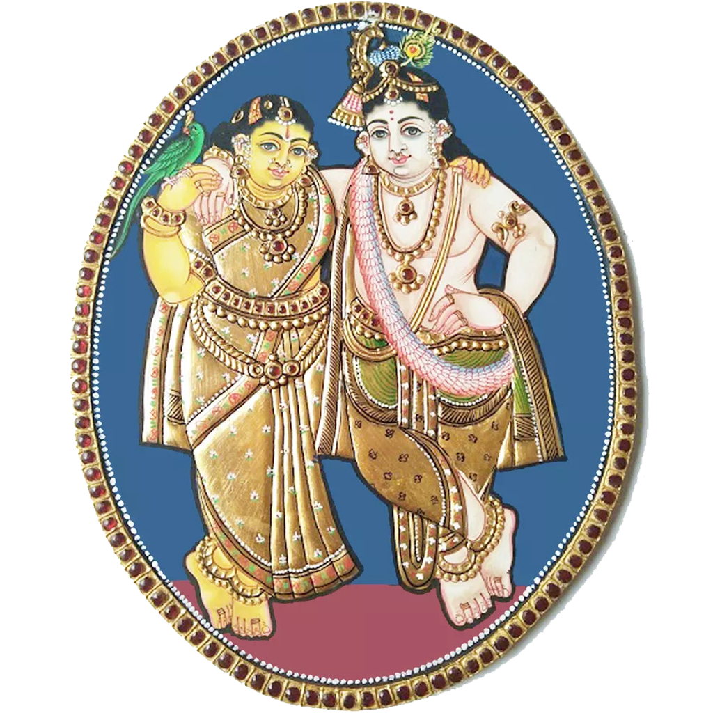 Oval Radha Krishna Antique Finish Tanjore Painting