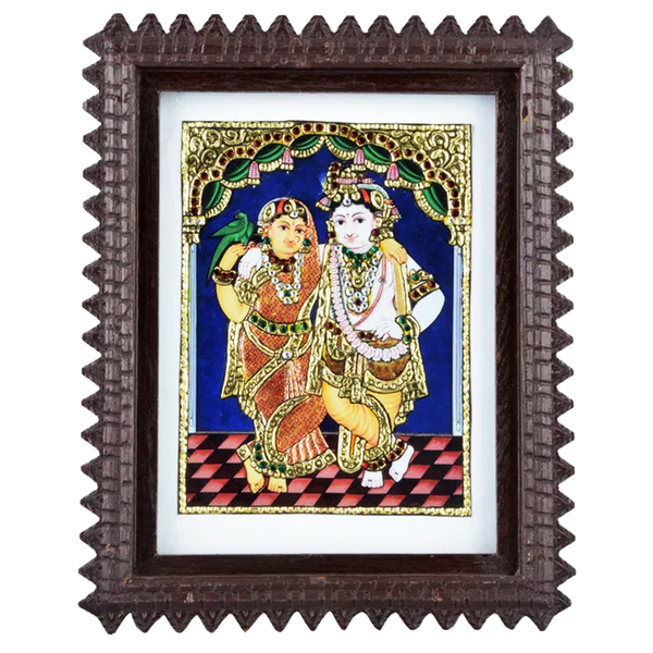 "Mangala Art Radha Krishna Indian Traditional Tamil Nadu Culture Acrylic Base Tanjore Painting - 24x19cms (9.5""x7.5"")"