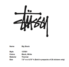 Stussy Sticker Big Stock Decal