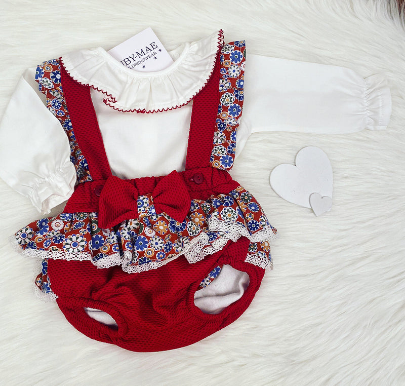 PREMIUM Red Floral Dungaree Romper With Blouse Outfit - Arabella