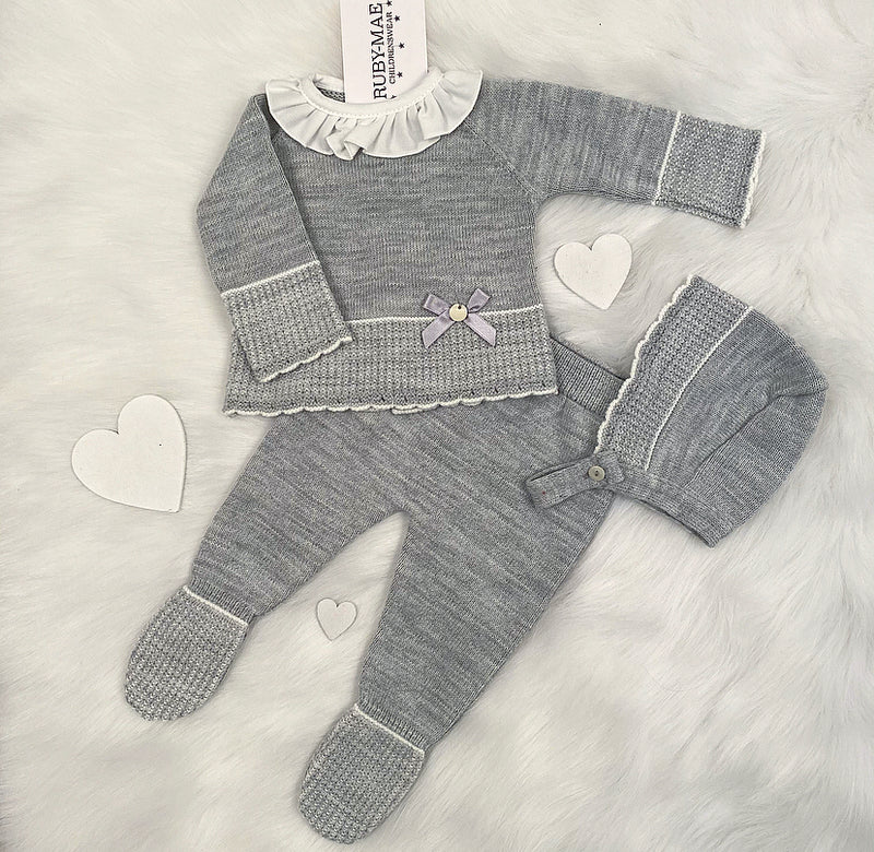 Grey With White Frill Neck Front Knitted Jumper & Pants Outfit With Matching Hat