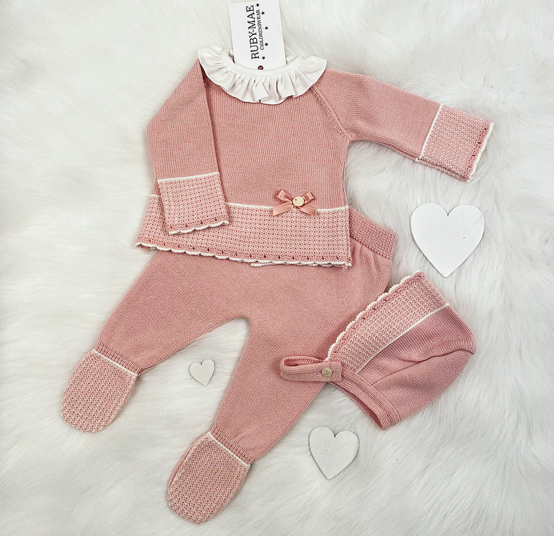 Pink With White Frill Neck Front Knitted Jumper & Pants Outfit With Matching Hat