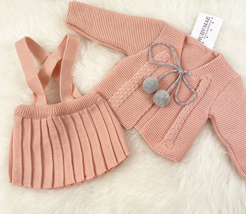 Dusky Pink Knitted Jacket With Dungaree Pleated Skirt - Stacey