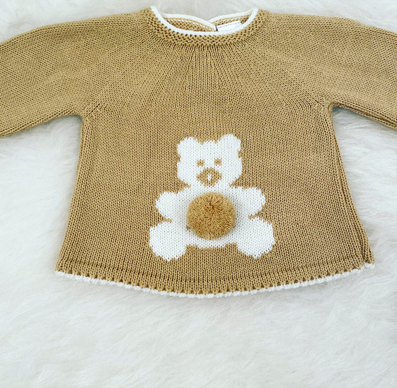 Camel With White Teddy Bear Front Knitted Jumper & Pants Outfit With Matching Hat