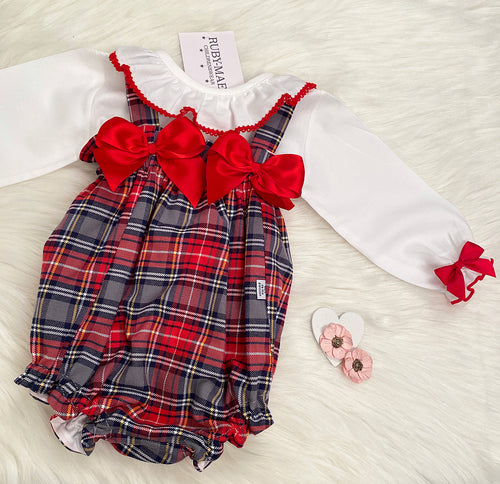 PREMIUM Red Check Frill Neck Blouse With Matching Dungaree Romper Set - Elizabeth