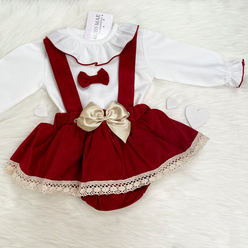 PREMIUM Red Dungaree Skirt With Matching White Blouse - Elsie