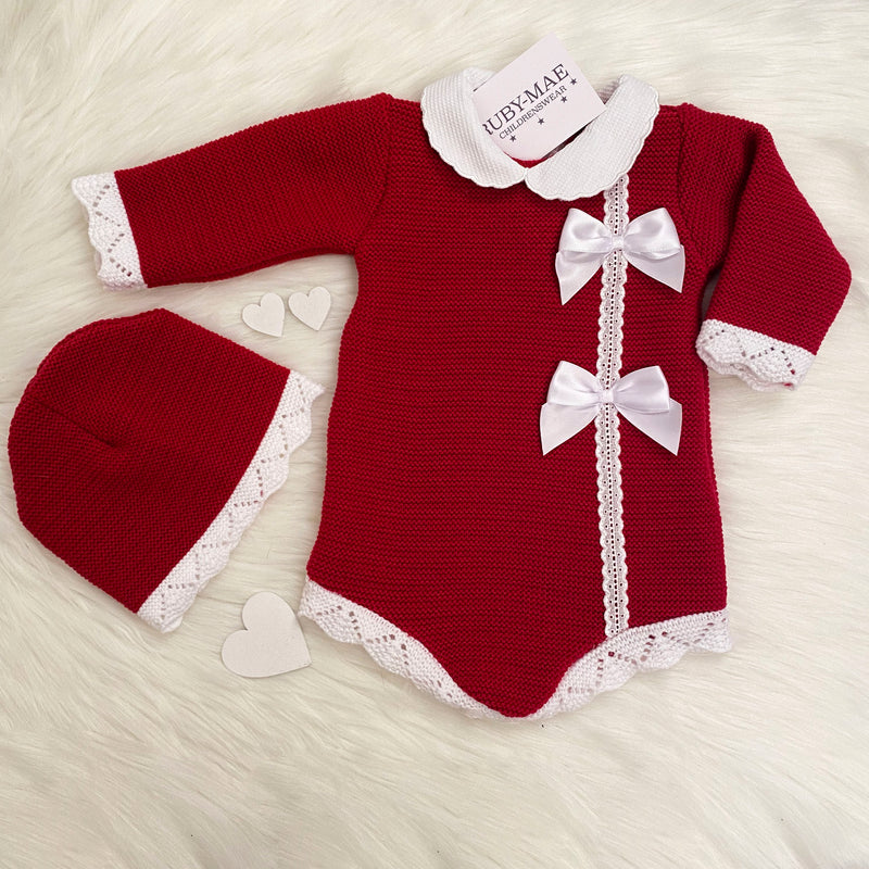 Red & White Knitted Romper With Matching Hat