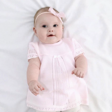 Baby Pink Pointelle Knitted Baby Dress - Pippa