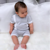 Grey With White Button Front Knitted Romper - Ethan