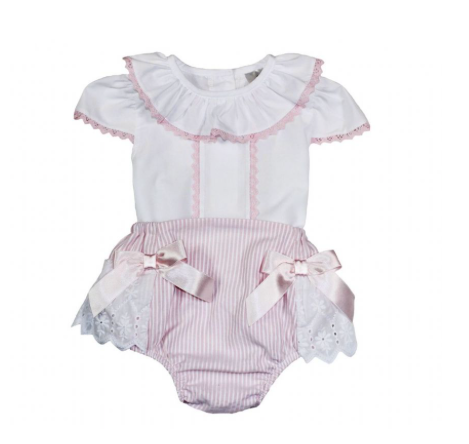 Pink And White Stripe Blouse And Frill Jam Pants Outfit - Sophia