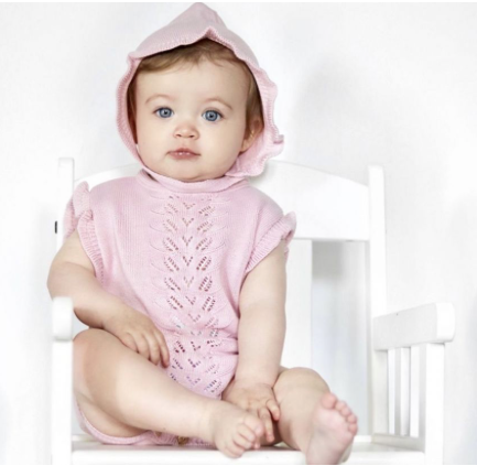 Dusky Pink Knitted Pointelle Romper With Matching Hat - Aimee