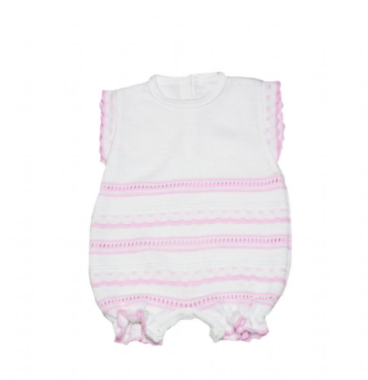 Baby Girls White With Pink Detail Knitted Romper