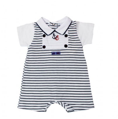 Baby Boys White And Navy Stripe Little Sailor Romper