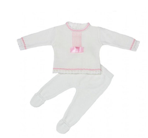 White With Pink Bow Front Knitted Long Legged Outfit - Rosie