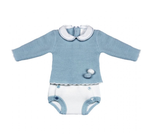 UNISEX Blue And White Knitted Pom Pom Romper Outfit Set