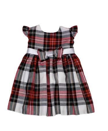 Baby Girls White Tartan Bow Dress - Eve