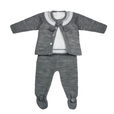 Grey Pom Pom Knitted Outfit With Matching Jumper Set - Milo