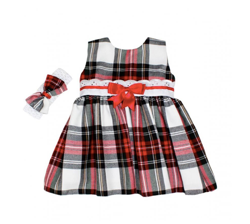 White Tartan Dress & Matching Headband - Emily