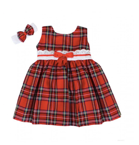 Red Tartan Dress & Matching Headband - Lucy