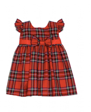 Baby Girls Red Tartan Bow Dress - Ebony