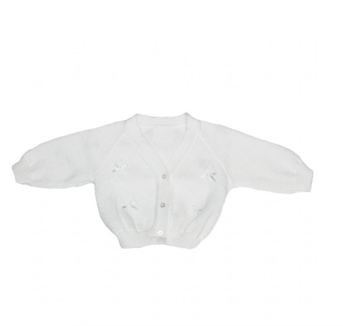 White Knitted Bow Cardigan - Mia