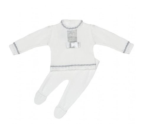 White With Grey Bow Front Knitted Long Legged Outfit - Jessie