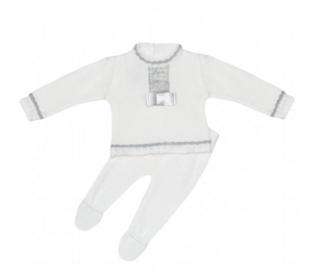 White Velour Bear Romper