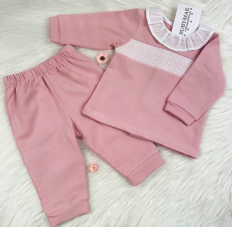 Soft Dusky Pink Velour Smock Tracksuit - Madison