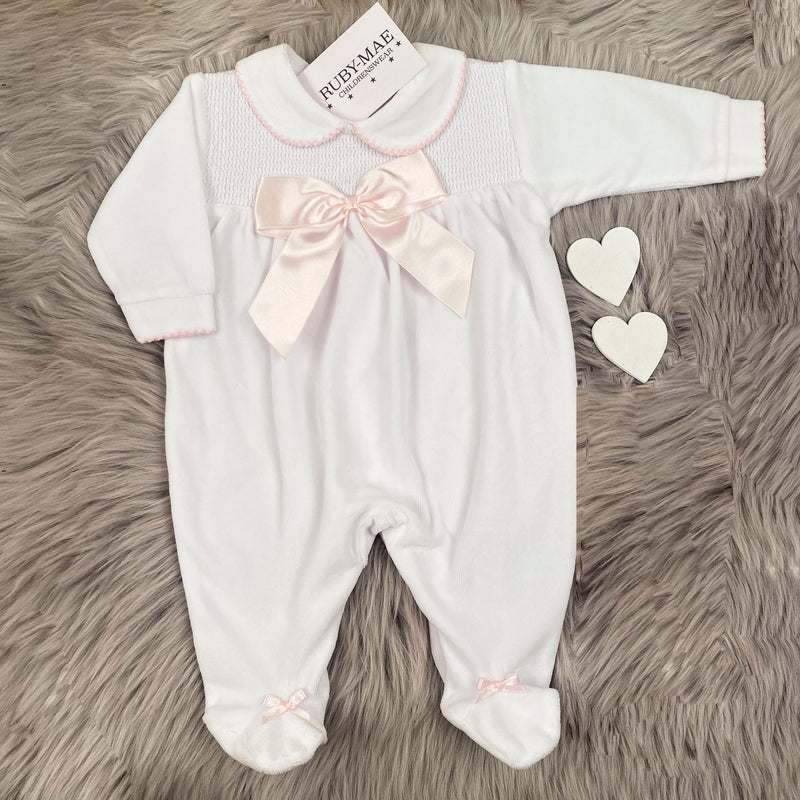 Soft White With Pink Velour Smock Bow Detail All In One - Alexia