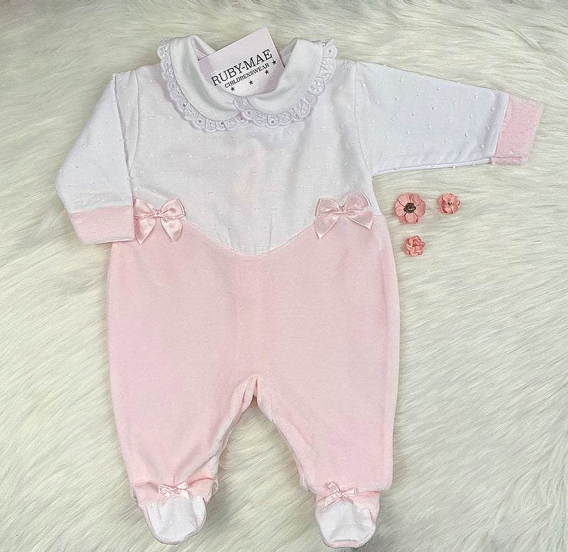 Soft White & Pink Velour All In One - Kay