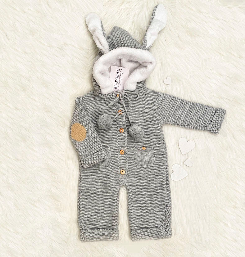 UNISEX Grey Knitted All In One Outfit With Hooded Rabbit Ears