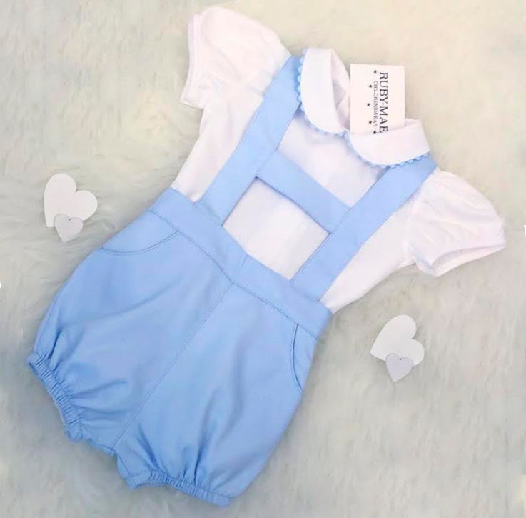 Blue And White H Bar Dungaree Outfit Set - Ryan
