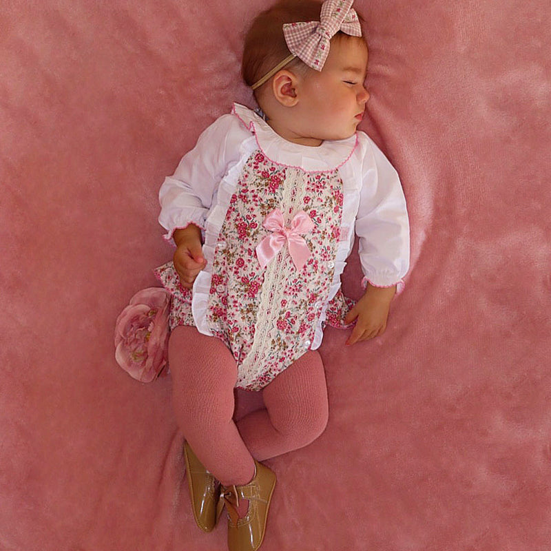 PREMIUM Pink Floral Ruffle Detail Dungaree Romper Outfit - Esmae