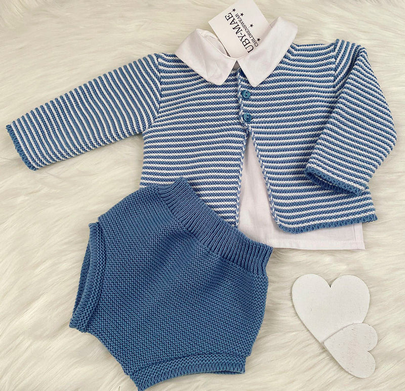 Blue & White Stripe Shirt, Knitted Shorts & Matching Cardigan Outfit - George