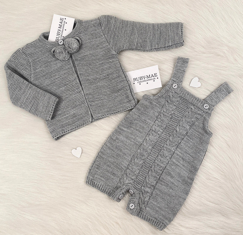 UNISEX Grey Knitted Dungaree Shorts With Matching Pom Pom Jacket Outfit