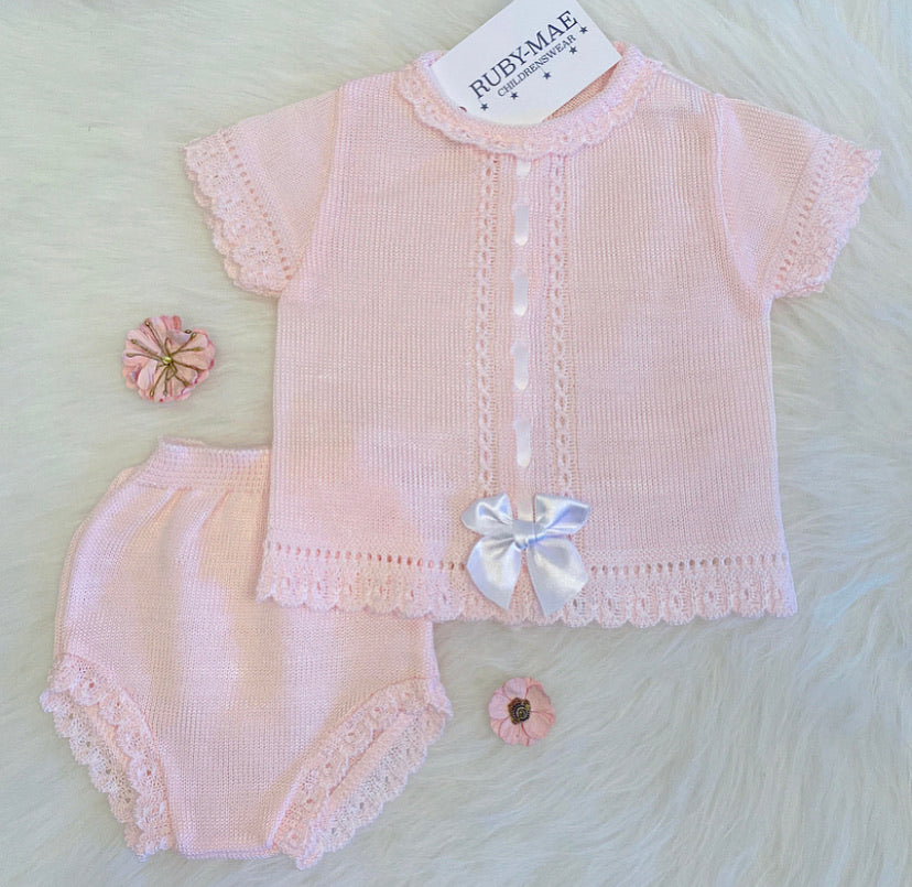 Pink Bow Front Dress With Matching Knickers Outfit - Sophia